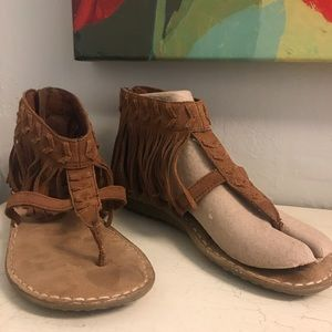 Minnetonka Leather Fringe Sandals